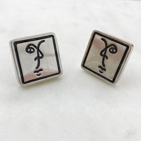 Серьги-кластеры квадратные Лик (стальной)