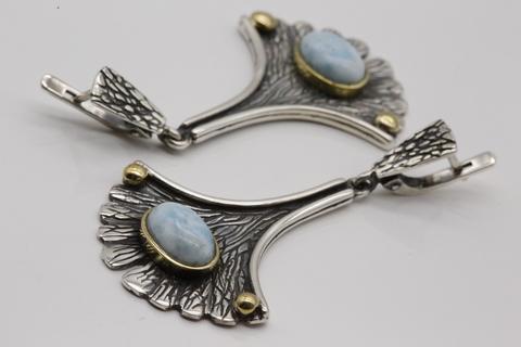 Серьги с ларимаром из серебра 925