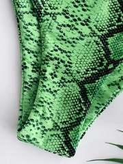 купальник бандо змеиный принт зеленый на шнуровке