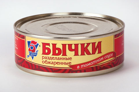 Бычки в томатном соусе 5 морей МИНИМАРКЕТ 0,23кг