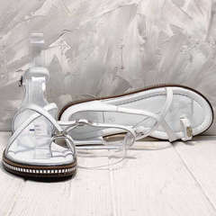 Женские кожаные босоножки с тонкими ремешками Evromoda 454-402 White.
