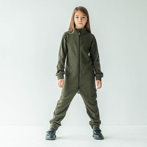 Thermal fleece jumpsuit with stripes for teens - Khaki