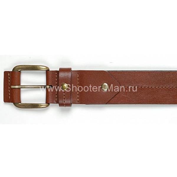 Фото Кожаный ремень брючный с отстрочкой №2 Тайга 40 мм Стич Профи