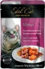 Пауч для кошек Edel Cat нежные кусочки в желе, лосось, камбала