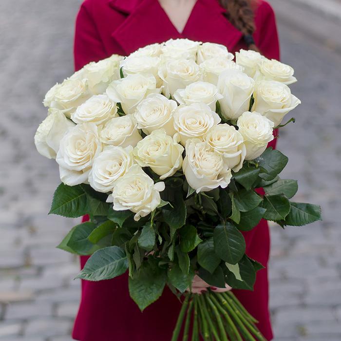Купить букет 35 белых роз в Перми