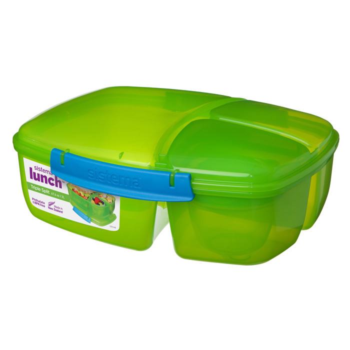 """Ланч-бокс с баночкой Sistema """"Lunch"""": 3 секции, 2 л, цвет Зеленый"""