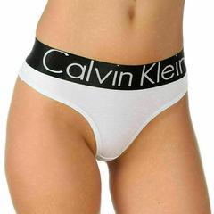 Женские трусы стринги белые с черной резинкой и белыми буквами Calvin Klein Women String W-Black W- Letters