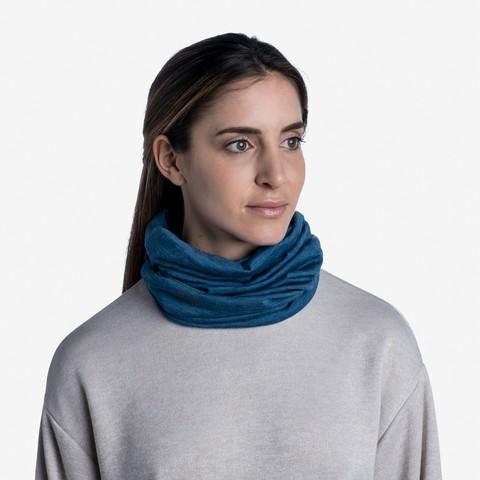 Тонкий шерстяной шарф-труба Buff Wool lightweight Solid Dusty Blue фото 2