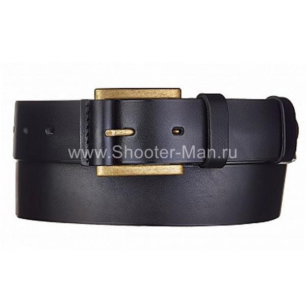 Кожаный ремень брючный с отстрочкой №2 Тайга 40 мм Стич Профи фото