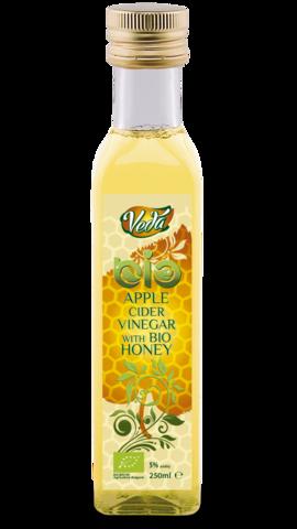 Уксус яблочный с пчелиным медом органический 5 %, 250 мл.