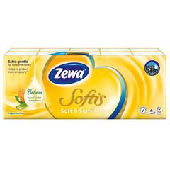 Носовые платочки бумажные Zewa Softis Soft & Sensitive с бальзамом миндального масла и алое вера 4-слойные (10 пачек по 9 платков)