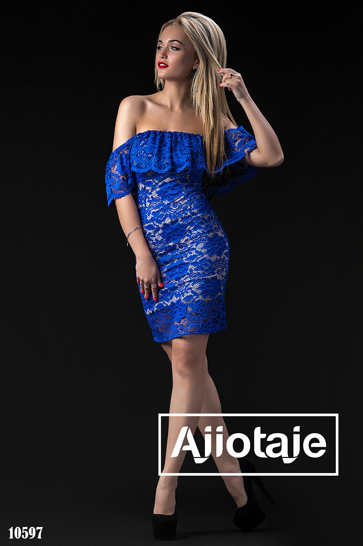 Платье мини с открытыми плечами цвета электрик