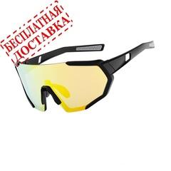 Очки солнцезащитные XQ547, (черный матовый / зеркальные revo) +2 доп. линзы
