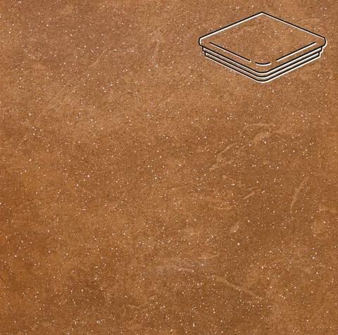 Stroeher - Keraplatte Roccia 839 ferro 345x345x12 артикул 9331 - Угловая клинкерная ступень - флорентинер