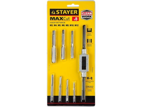 STAYER MaxCut 8 предметов, набор метчиков, инструментальная сталь