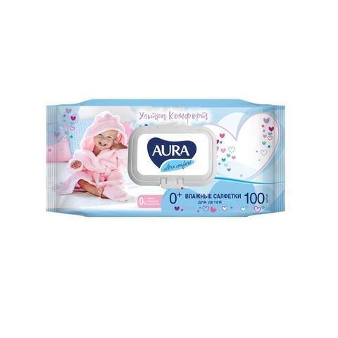 Влажные салфетки детские Aura Ultra Comfort 100 штук в упаковке