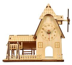 Деревянные часы-конструктор/ раскраска/ набор для творчества/ Домик-мельница