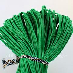 Сутаж, 3х1 мм, цвет - ярко-зеленый, примерно 1 м