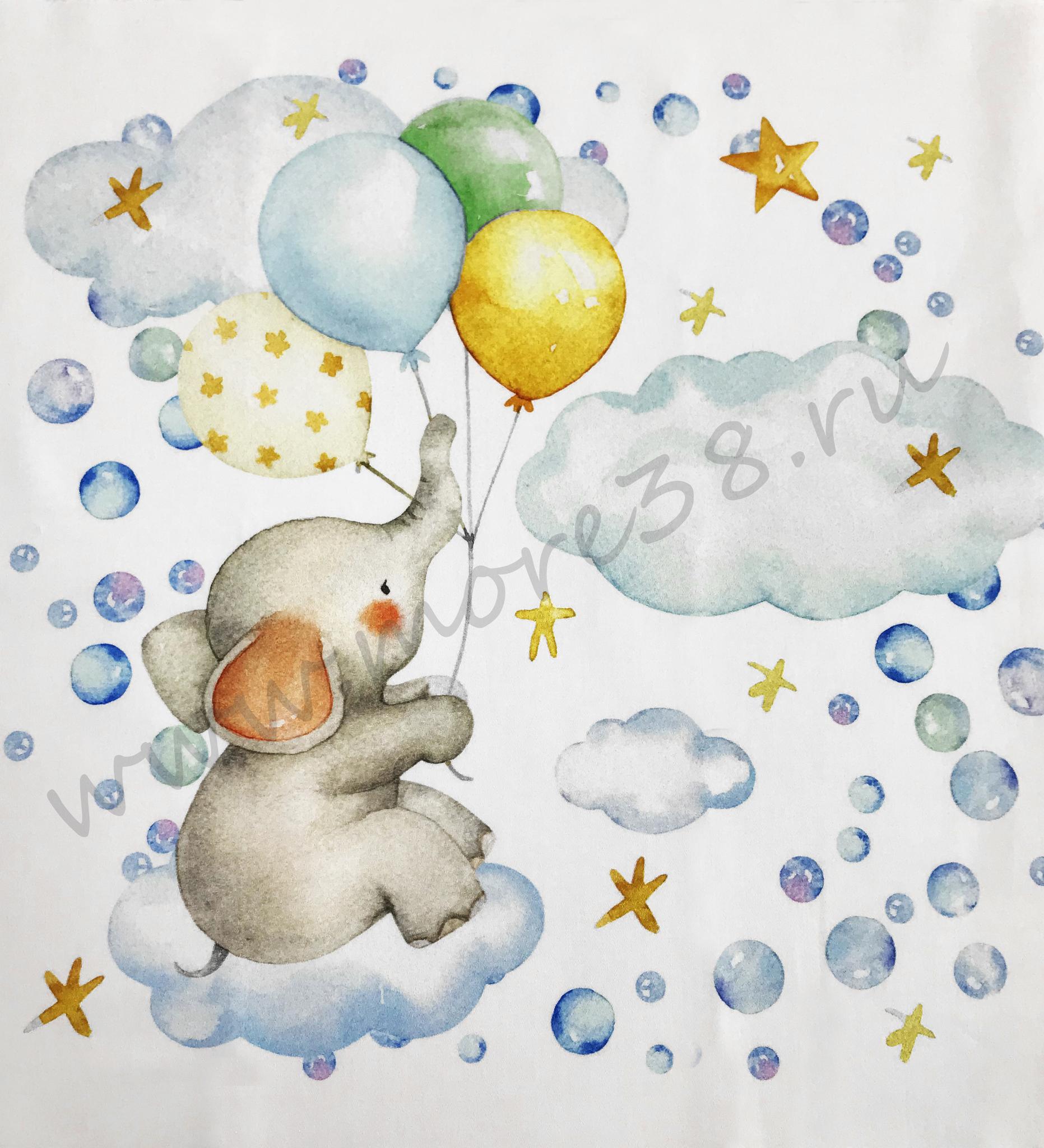Панель(купон) котик,слоник ,мышенок и шары -35*35 см, 4 шт