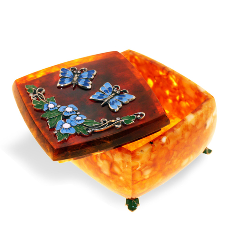 Шкатулка «Бабочки» из янтаря