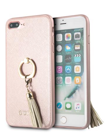 Чехол Guess Saffiano для iPhone 7+/8+ | PU кольцо розовый