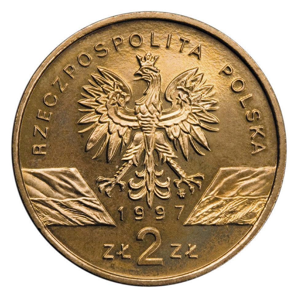 2 злотых Жук-олень (животный мир) 1997 год, Польша. UNC