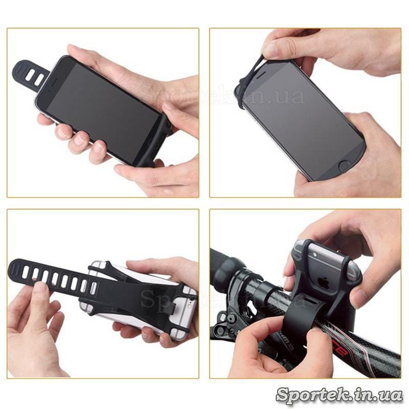 Как вставить смартфон в силиконовое крепление на руль велосипеда
