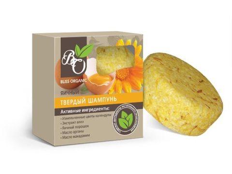 Натуральный твердый шампунь «Яичный», Bliss organic 65 гр