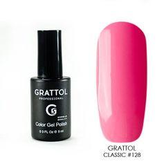 Grattol, Гель-лак 128, Hot Pink, 9 мл