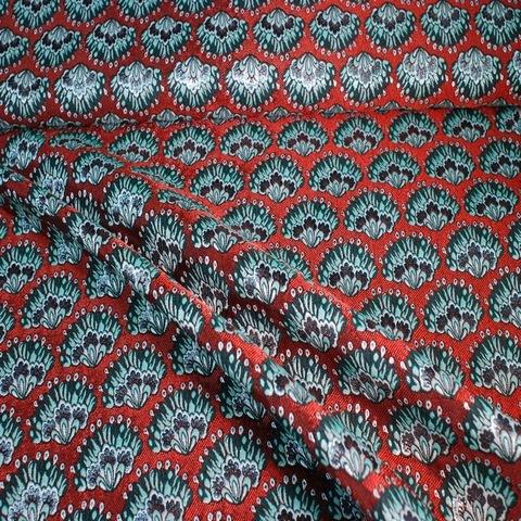 Ткань жаккард двусторонний красный с цветами 3096