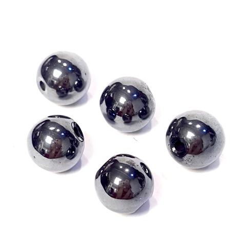 Бусины гематит шар гладкий 12 мм черный 1 бусина