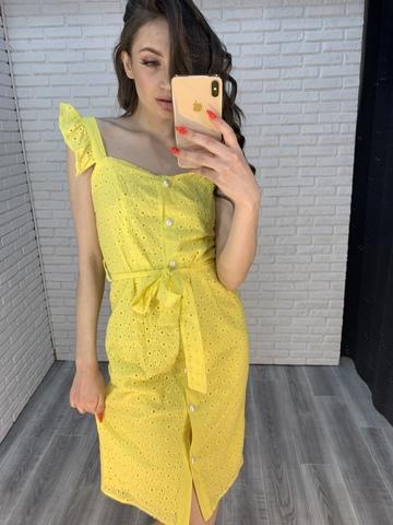 желтое платье с пуговицами nadya