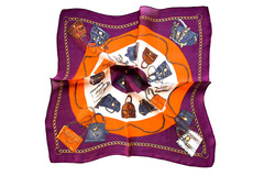 Итальянский платок из шелка сиреневый с принтом 0102