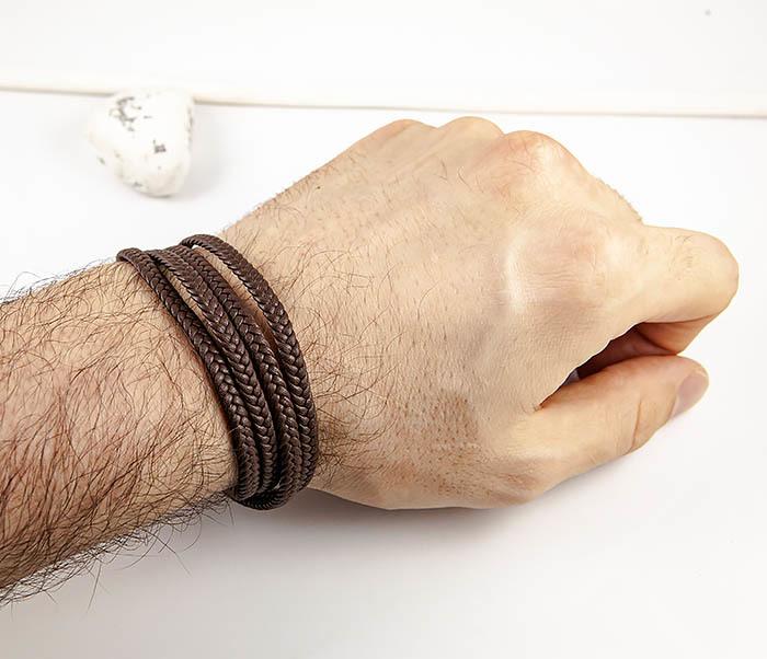 BM561-2 Мужской браслет из плетеного шнура коричневого цвета фото 07