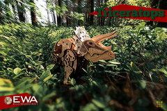 Динозавр Трицератопс от Eco Wood Art - Деревянный конструктор, сборная модель, 3D пазл