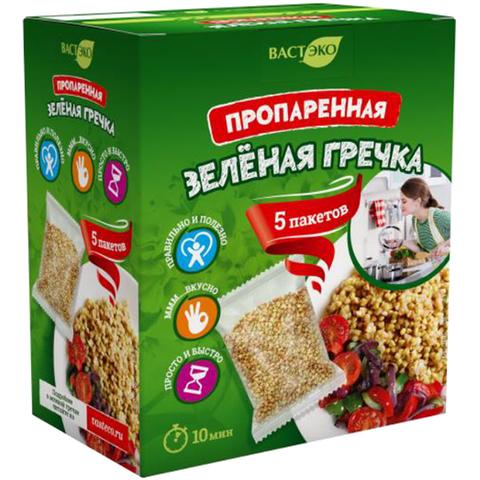 Гречка зеленая пропаренная, 5пакетов*70 гр. (ВАСТЭКО)