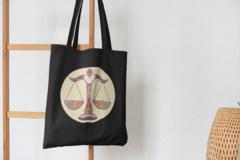Сумка-шоппер с принтом Знаки Зодиака, Весы (Гороскоп, horoscope) черная 003