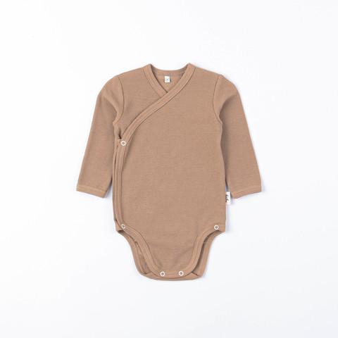 Ribbed long-sleeved kimono bodysuit 0+, Desert Sand