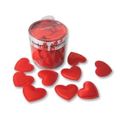 Конфетти Сердца3D ткань красн 3см 35шт