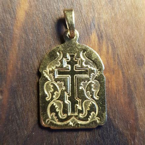 Нательная именная икона святой Федор с позолотой кулон с молитвой