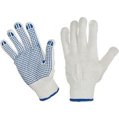 Перчатки рабочие трикотажные с ПВХ Точка 6 нитей 10 класс 62 г (10 пар в упаковке, ручной оверлок)