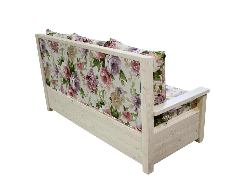 диван 3-местный Сказка, массив сосны, цвет беленый