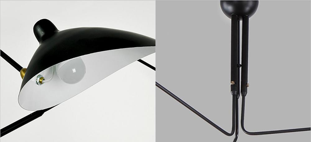 Потолочный светильник  Six Arms by Serge Mouille (черный)