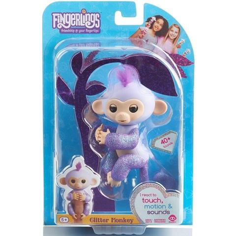 Фингерлингс блестящая Обезьянка Кики фиолетовая