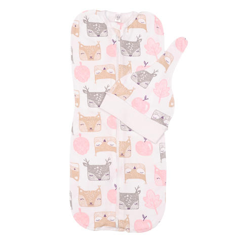 Mini Fox. Комплект пеленка-кокон и шапочка 0-3 мес., белки