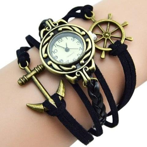 Купить Часы-браслет с якорем и штурвалом (черные) в Магазине тельняшек