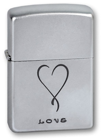 Зажигалка Zippo Love с покрытием Satin Chrome, латунь/сталь, серебристая, матовая, 36x12x56 мм123