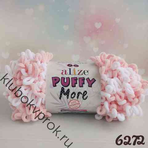 ALIZE PUFFY MORE 6272, Белый розовый