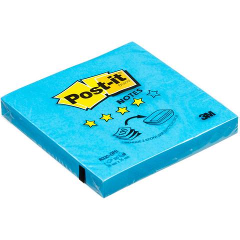 Стикеры Z-сложения Post-it 76х76 мм неоновые голубые для диспенсера (1 блок, 100 листов)