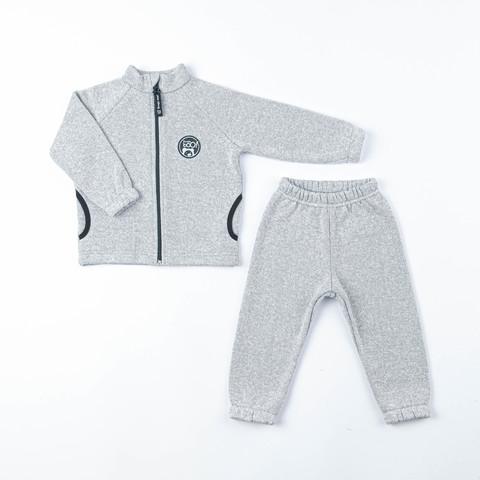 Fleece knitted sweatsuit - Gray Melange